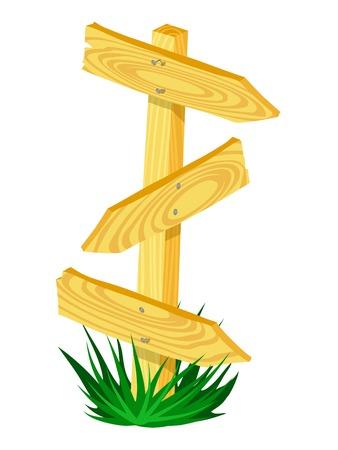 Wooden arrow Direction Sign. Cartoon vector illustration