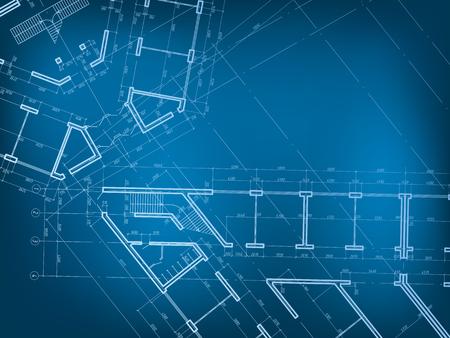Plan domu na niebieskim tle.
