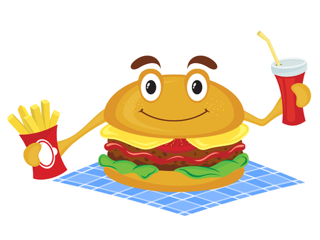 Hamburger holds a French fries and drink. Cartoon illustration