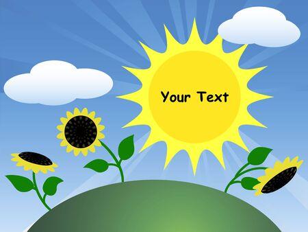 Field with sunflowers and sun. Cartoon illustration Stock Illustratie