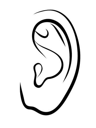human ear. Outline illustration