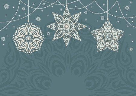 Retro Christmas background with white snowflakes on blue background. Vintage Color