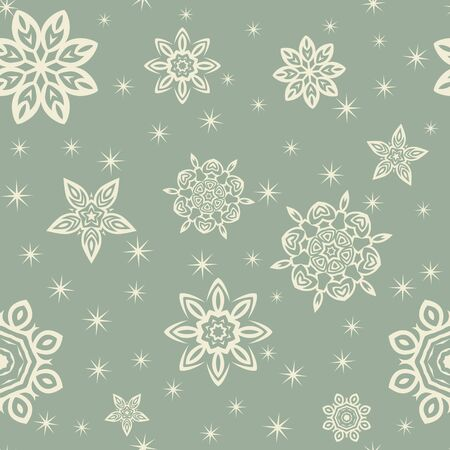 Retro Christmas pattern with snowflakes on blue background. Stock Illustratie