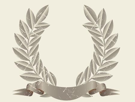Old style laurel wreath. Grunge illustration Vectores