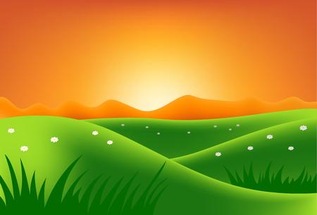 Green hills and field at sunset. Illustration Stock Illustratie