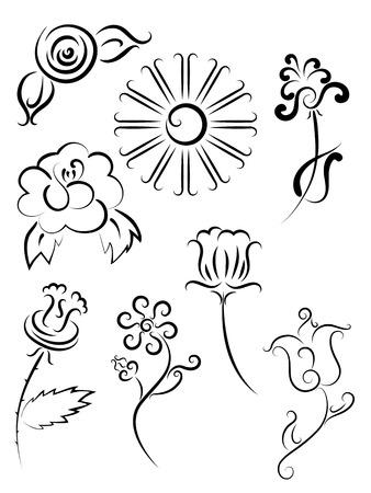 Tattoo flower and sun set. Outline illustration