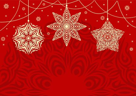 Retro Christmas background with white snowflakes on red background. Vintage Color