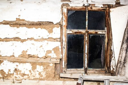 Wood window of the old house.Vintage background.