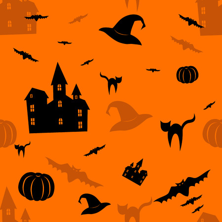 Halloween orange seamless pattern.