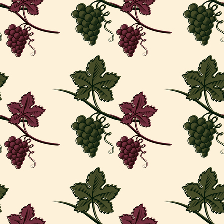Seamless Pattern of Green and Red Grape.