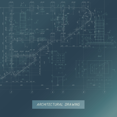 Architectural Blueprint, Building background illustration. Vectores