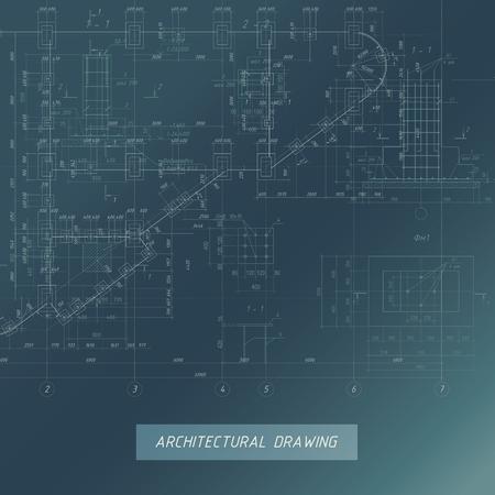 Architectural Blueprint, Building background illustration. Illustration