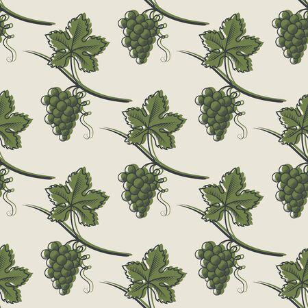 Seamless Pattern of Green Grape.