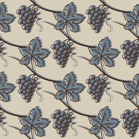 Seamless Pattern of Grapes in colored illustration.