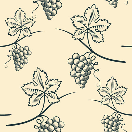 Seamless Pattern of Grapes in monochrome illustration. Vectores