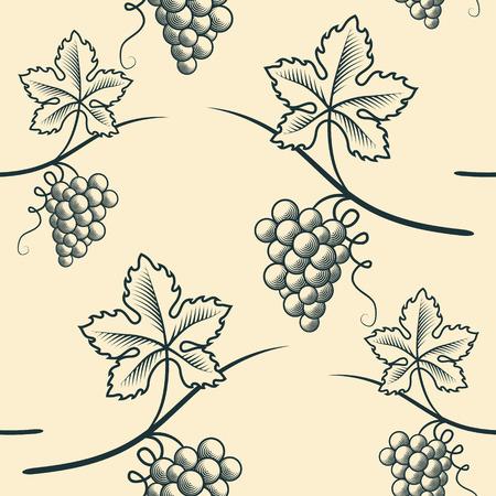 Seamless Pattern of Grapes in monochrome illustration. Stock Illustratie