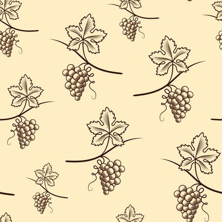 Seamless Pattern of Grape.Vintage Vector.