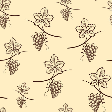 Seamless Pattern of Grape.Vintage Vector.