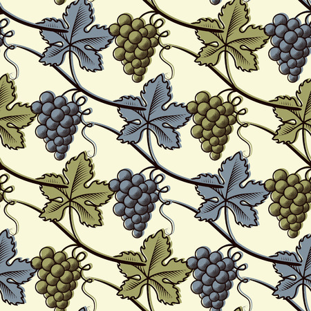 Seamless Pattern of Green and Blue Grape.