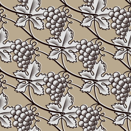 Seamless Pattern of Grapes. Vintage Vector.