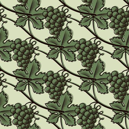 Seamless Pattern of Green Grapes. Stock Illustratie