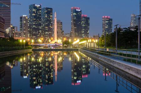 incheon: Reflection incheon Park at night Stock Photo