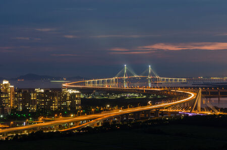 incheon: Sunset of Incheon Bridge at Night (long exposure)