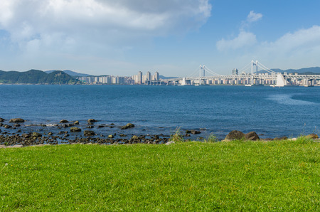 schlagbaum: Gwangan Br�cke in Haeundae Beach in Busan City, Hauptroute s�dlich Korea