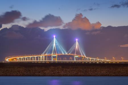 incheon: incheon bridge at night ,seoul korea