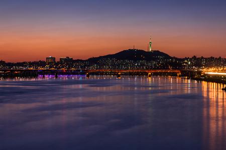 n: Seoul Subway and Bridge at Hanriver in Seoul, South korea