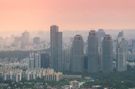 n: Sunset of Seoul City , South Korea