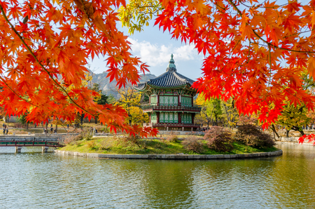 autumn sky: Autumn of Gyeongbokgung Palace in Seoul ,Korea Editorial