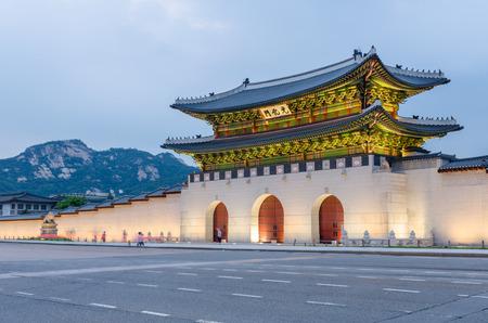 south korea: Gyeongbokgung palace at night in Seoul, South Korea