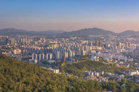 n: Sunset of Seoul City , South Korea.