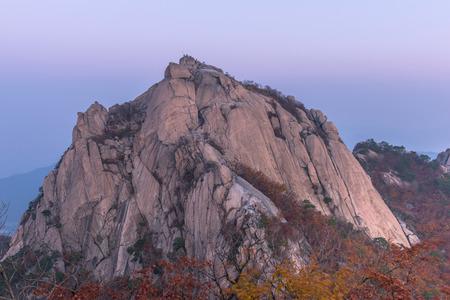 red mountain: sunrise of Baegundae peak, Bukhansan mountains in Seoul, South Korea