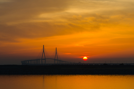 incheon: Sunset of Incheon Bridge Seoul,Seouth Korea