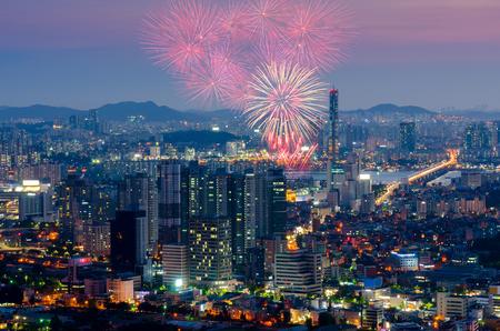 south korea: Colorful fireworks in Seoul ,South Korea