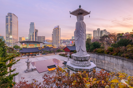 bongeunsa: Sunset at Bongeunsa temple of downtown skyline in Seoul City, South Korea Editorial