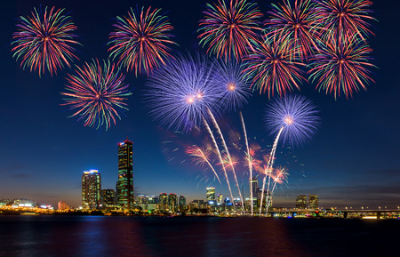 glow pyrotechnics: Colorful fireworks in Seoul ,South Korea
