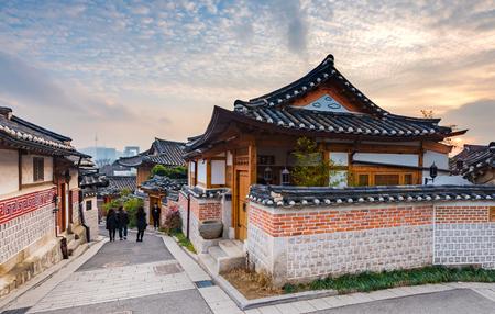 korean style house: Sunset of Bukchon Hanok Village in Seoul, South Korea. Stock Photo