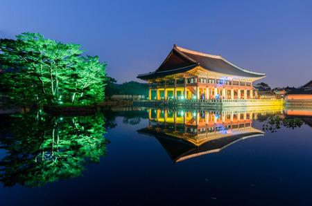 gyeongbokgung: reflection of Gyeongbokgung palace at night in Seoul, South Korea