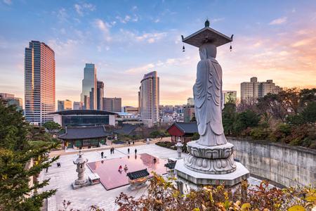 Bongeunsa temple dans la ville de Séoul, Corée du Sud