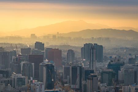 n: Korea,Sunset of Seoul City Skyline