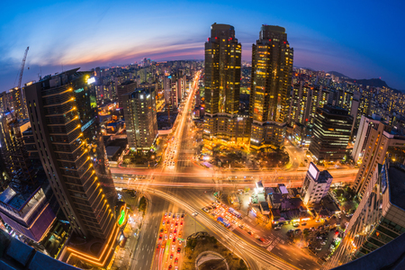 night traffic: Korea , Night traffic speeds in Seoul,Korea. Stock Photo