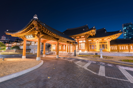 korean style house: Incheon,Traditional Korean style architecture at night in Incheon,Korea Stock Photo