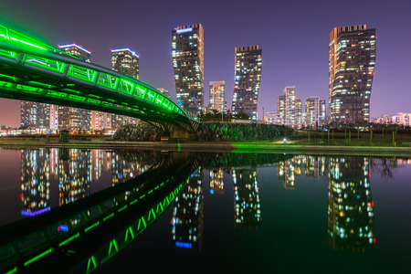 incheon: Centralpark at Night Incheon, South Korea. Stock Photo