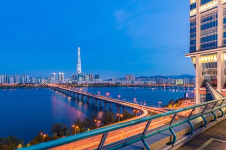 night views: Seoul Subway and Seoul City Skyline at Han river Seoul, South korea.