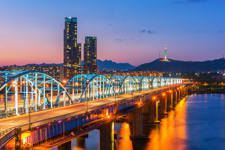 Korea,Seoul at night, South Korea city skyline at Dongjak Bridge Han river in Seoul , South Korea. Stock Photo