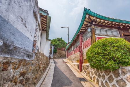 korean style house: Bukchon Hanok Village in Seoul, South Korea.