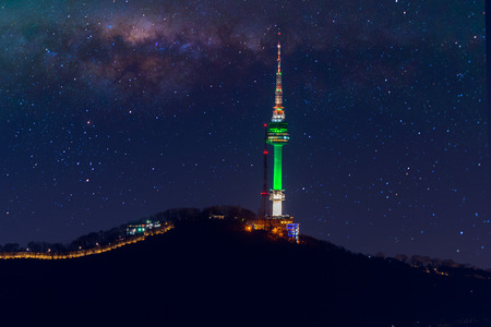 Seoul tower and Milky Way Galaxy in Seoul, South Korea.